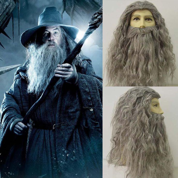 Zauberer Gandalf Cosplay Perücke Langes lockiges Haar Grauer Bart Outfit Alter Mann Zauberer Kostüm Perücke Halloween Kostüm Zubehör