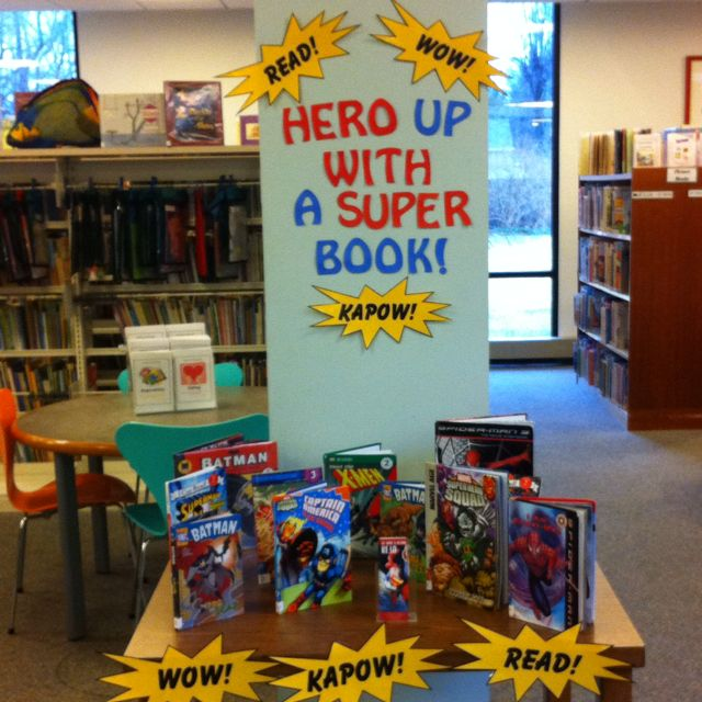 Superhero display--mention to TRC for Race day!