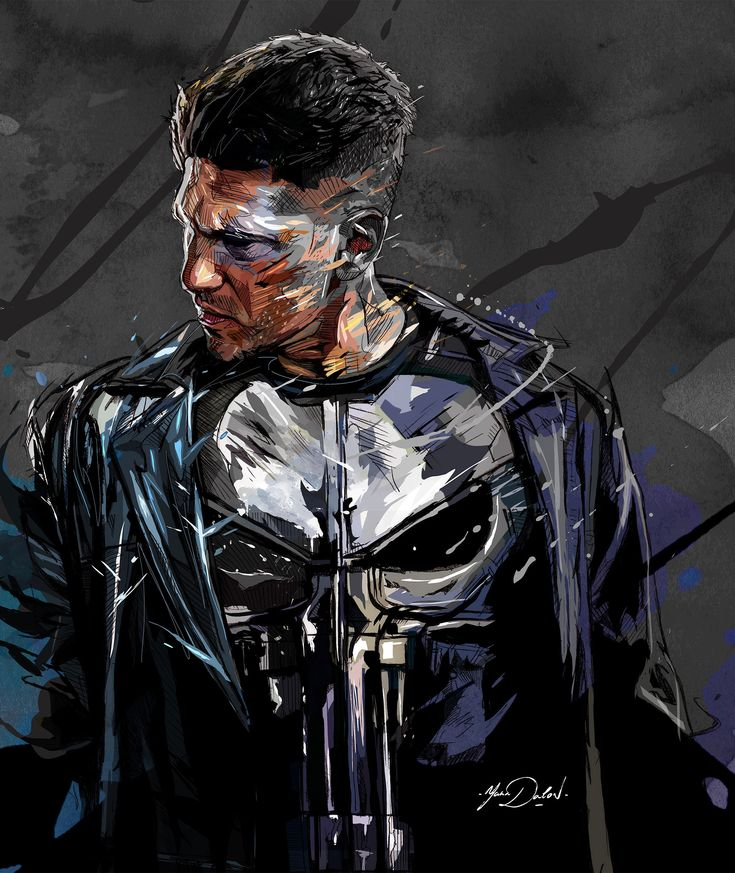"""My painting of """"The Punisher"""" , Hero of the Marvel Universe and and the Netflix Tv Show."""