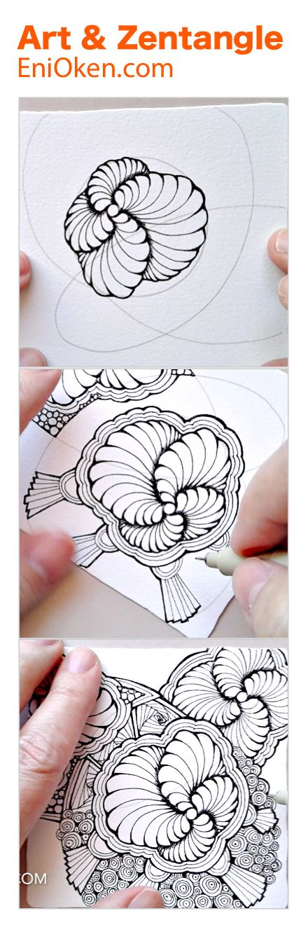 Learn how to create beautiful Showgirl Zentangle®️ with this hour long video • enioken.com