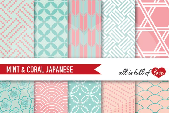 Japanese Background Patterns in Coral Pink and Mint Green :: Graphicswith…