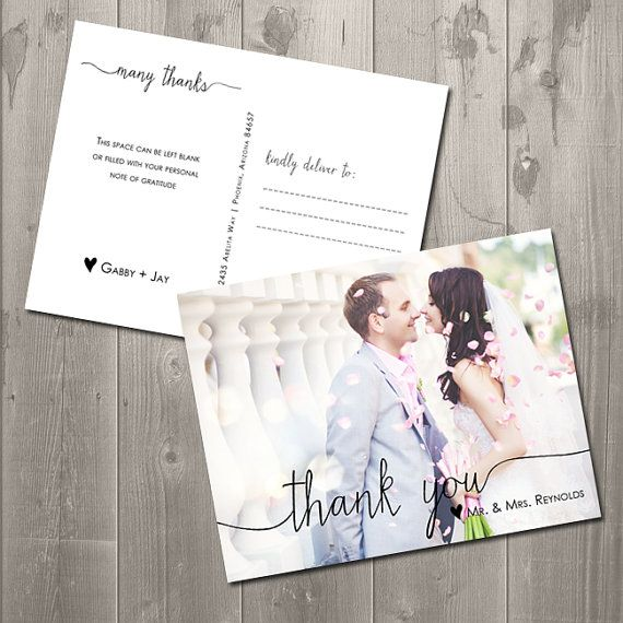Scribble Photo Thank You Card - DIY Printable Thank You Card Postcard on Etsy, $15.00    Inspirations | Bride  Groom