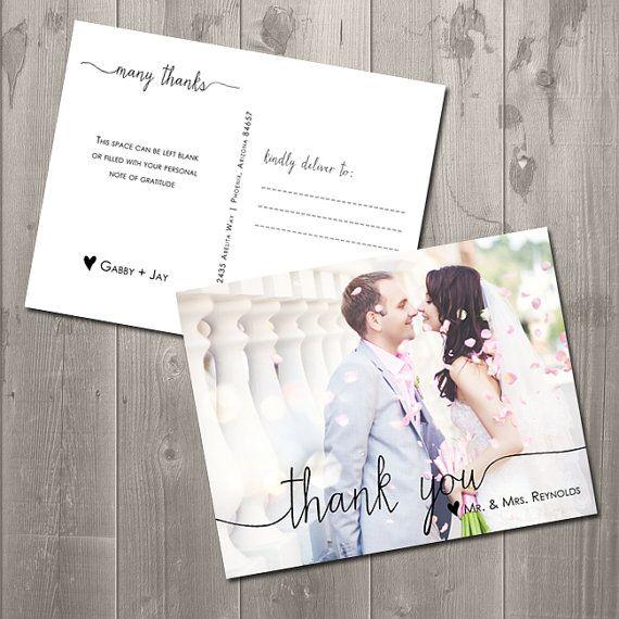 scribble photo thank you card diy printable thank you card postcard on etsy 1500