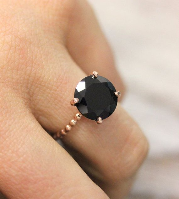 Black Spinel and 14k Rose Gold Recycled Gold Solitaire Ring, Cocktail Ring Made in Your Size via Etsy