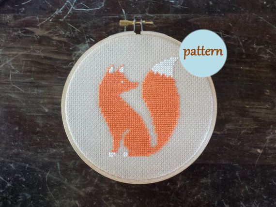 Red Fox Cross Stitch Pattern, Instant Download PDF, DIY Embroidery Hoop Wall Art