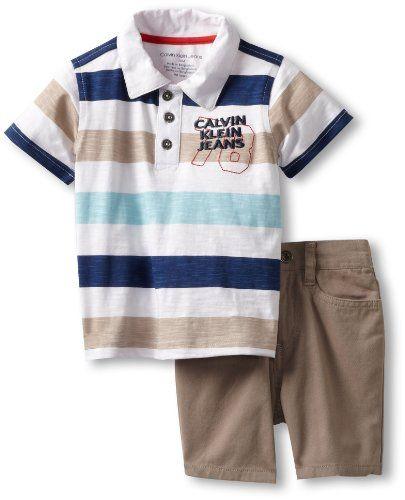 Calvin Klein Baby-boys Infant White Stripes Polo Shirt With Shorts