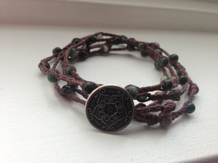 Braided wrap made with brown Irish linen and fancy jasper