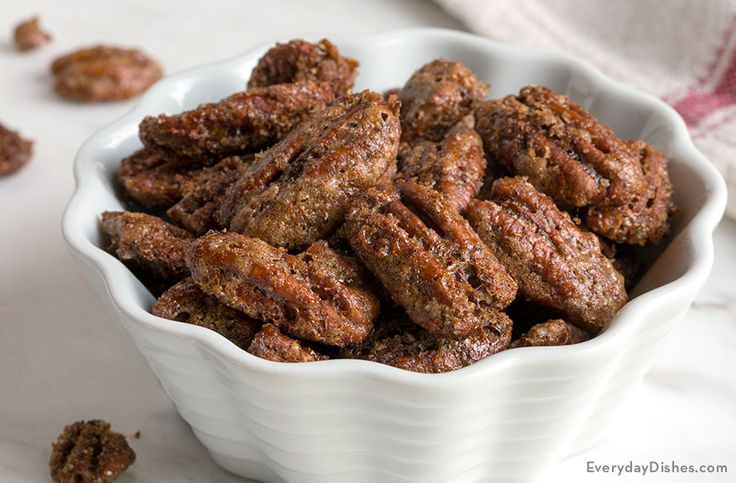 This easy spiced pecans recipe has a sweet and salty flavor with just a hint of heat. They are great for a snack or on a salad.