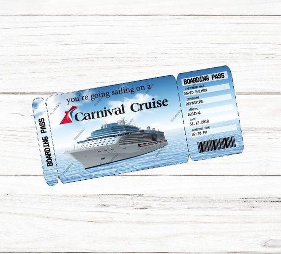 Editable Printable Carnival Cruise Surprise Trip Ticket Boarding