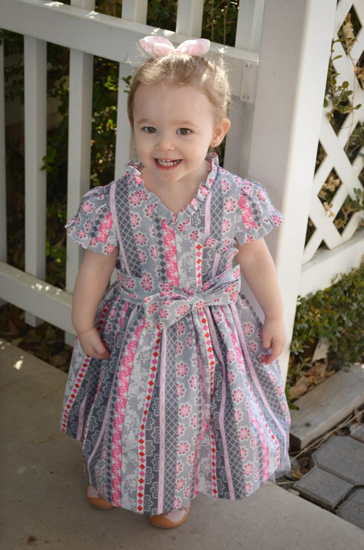 Pink and Gray little girls party dress by sewsocutie on Etsy