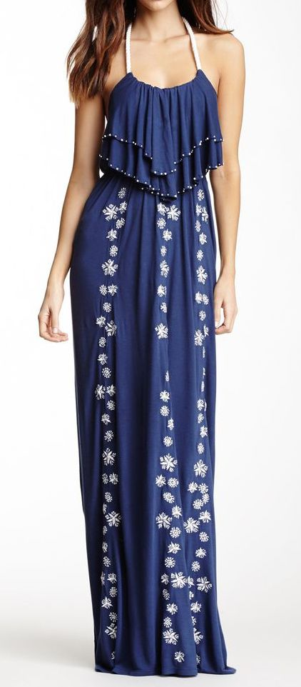 Embroidered Maxi Dress ==