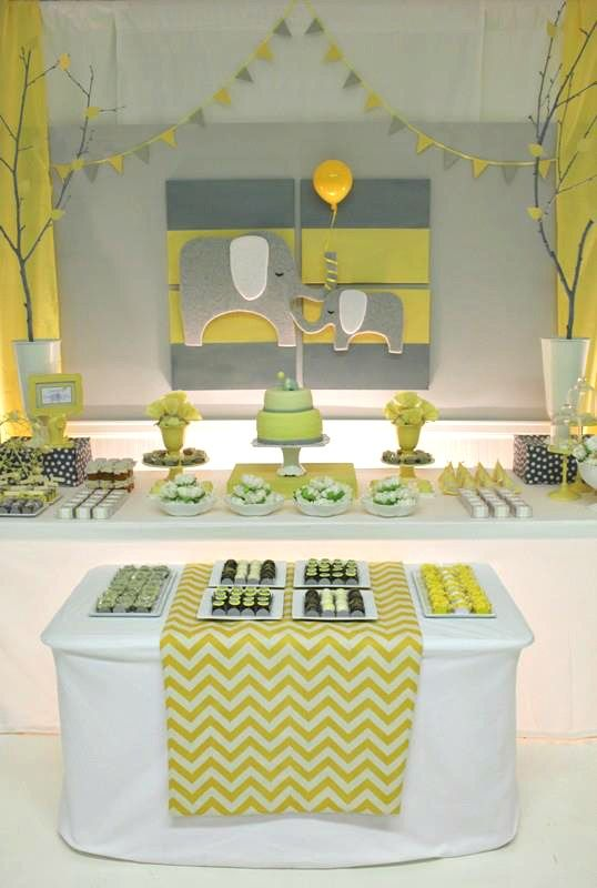 Yellow & Gray Chevron Baby Shower Ideas (Elephant Theme) for a boy or girl (Change to navy & gray)