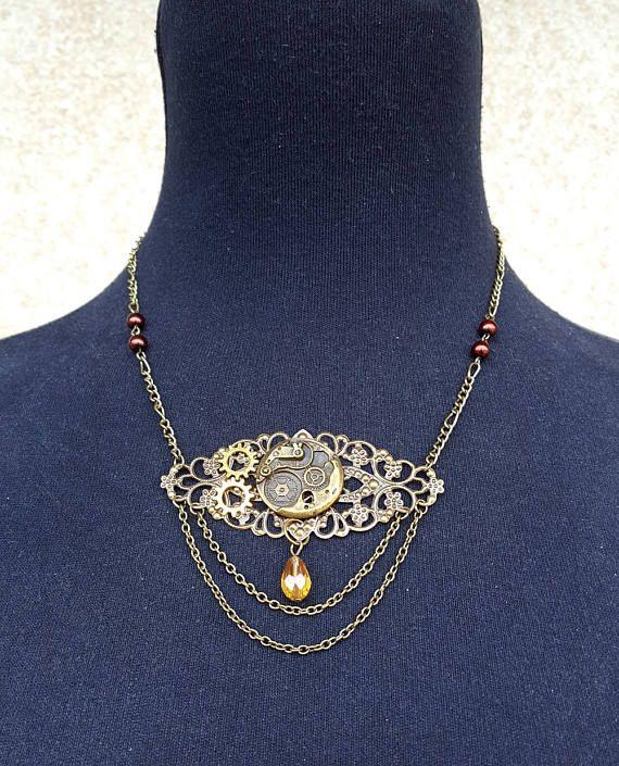 Gargantilla Steampunk,Collar Steampunk,Joyeria Steampunk,Cadena bronce,Collar engranajes Steampunk,Collar Neo Victoriano,Joyería Victoriana