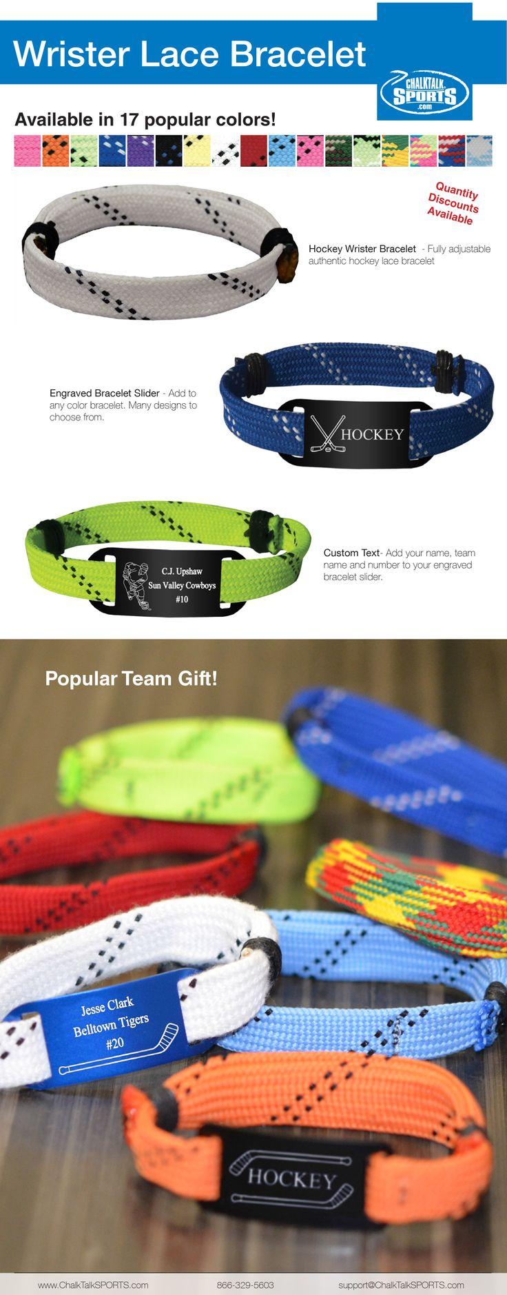 Hockey Lace Bracelets from ChalkTalkSports.com. Custom engraved hockey bracelets. #hockey #gifts