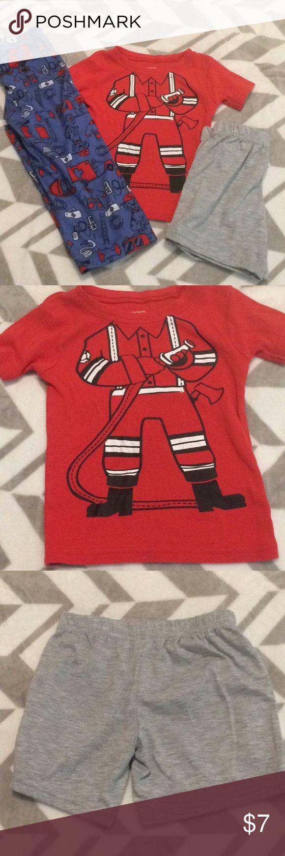 3pc boys pajama set Fireman shirt with short sleeves  Gray shorts Fireman print pants Carter's Pajamas Pajama Sets