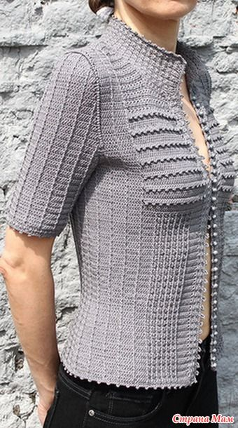 Cool mix of crochet stitch textures in this buttoned shirt-like top.  . Шелковая поэма Ванессы Монторо - Все в ажуре... (вязание крючком) - Страна Мам