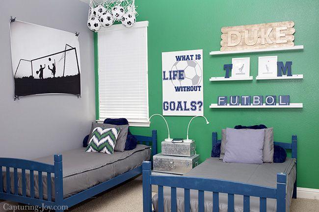 Boys Soccer Room Makeover Capturing Joy With Kristen Duke Girls Soccer Bedroom Kids Bedroom Themes Boys Soccer Room