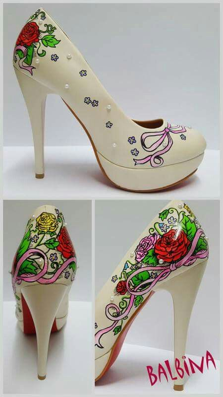 hand painted shoes #hand painted high heels #balbina #custom shoes #customized shoes