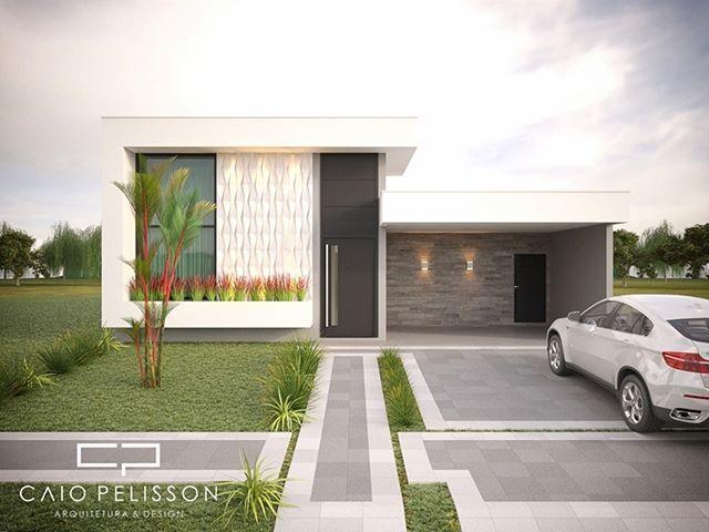 Casa térrea com altura dupla em ambientes sociais e linhas contemporâneas …   – Arquitetura
