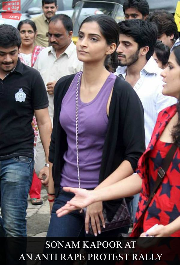 Sonam Kapoor at an anti rape protest rally