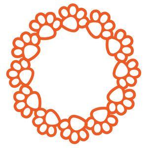 Silhouette Design Store - View Design #115557: paw print circle frame