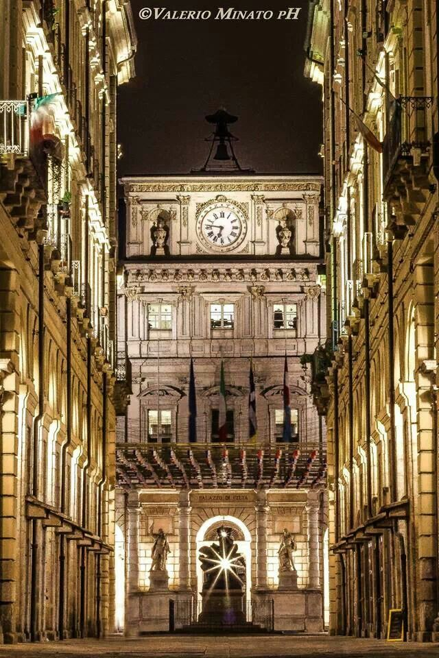 Via e Piazza Palazzo di Città - Torino, Italy.