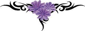 Paarse Tribal Bloemen Tattoo
