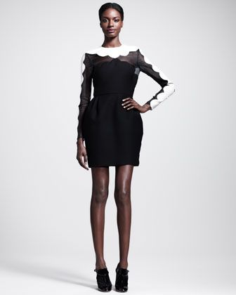 FALL 2013 DRESSES  | Valentino Bicolor Scallop-Edged Dress