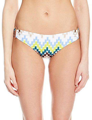 MILLY Women's Chevron-Print Barbados Bikini Bottom, Azure, Petite. Low-rise bikini bottom in chevron design featuring O-rings at sides. Moderate rear coverage.