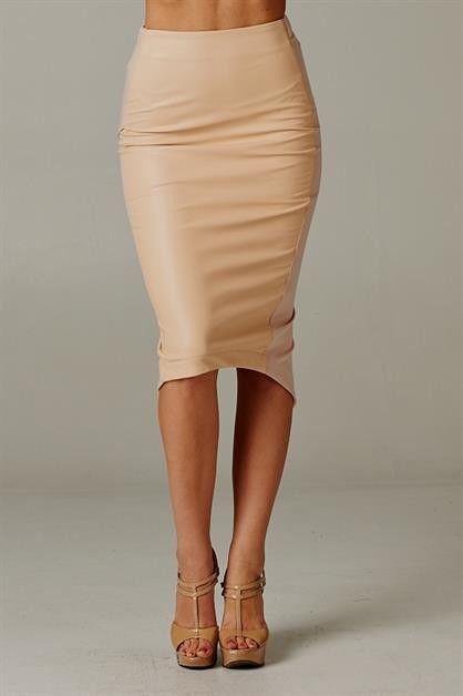 Tan Leather Pencil Skirt Dakota South Boutique Faux