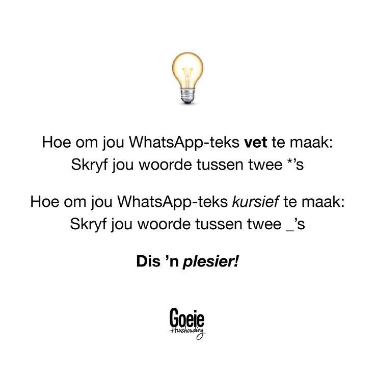 Het jy geweet jy kan dít in Whatsapp doen?