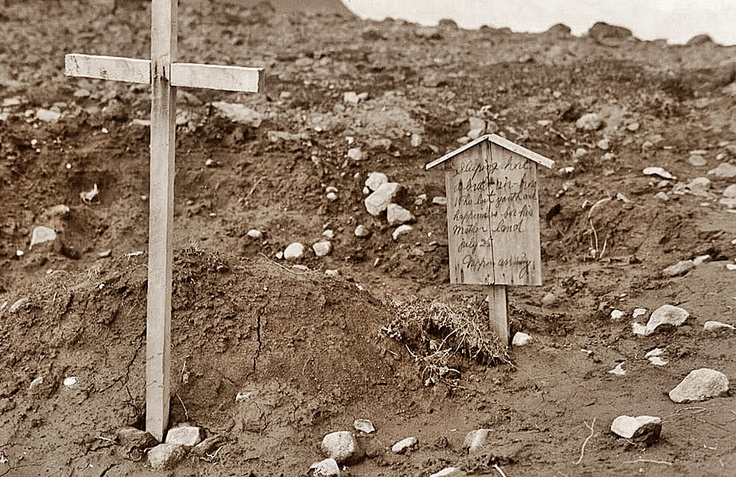 """This grave marker was discovered by US troops on Kiska Island (Aleutians) in a small graveyard in August 1943. The marker was made and placed by Japanese soldiers, after they had buried an American pilot who had crashed on the island. The marker reads: ""Sleeping here, a brave air-hero who lost youth and happiness for his Mother land. July 25 - Nippon Army"". A small gesture of humanity amid the Apocalypse."""