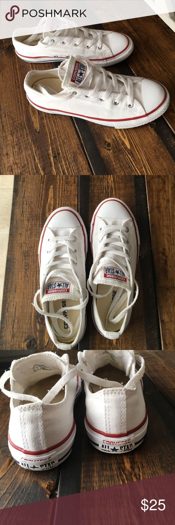 Converse All Stars white 2.5 youth ladies 5/5.5 White Converse All Stars in good used condition! Size 2.5 youth. I wore these and I wear a 5/5.5 ladies shoe size. Converse Shoes Sneakers