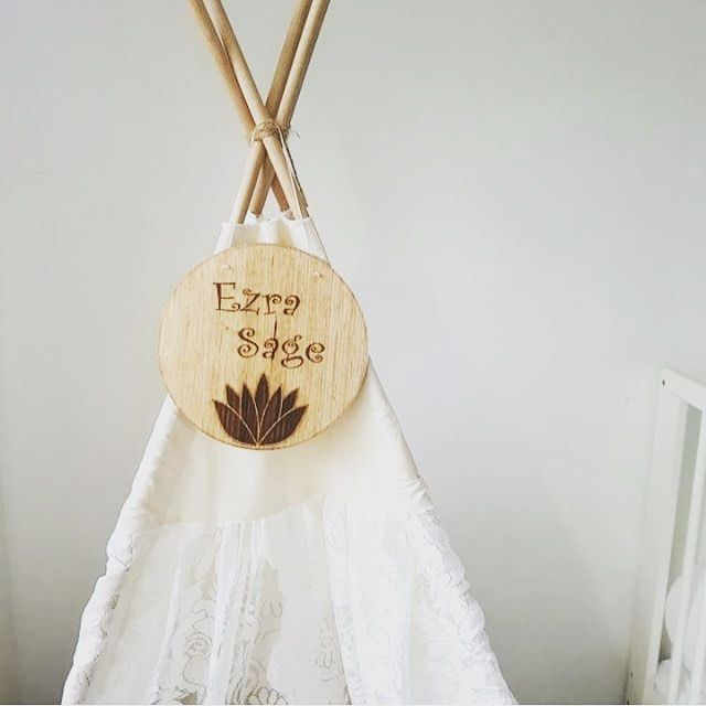 Teepee Toppers!  Shop our lotus name plaque via the link in bio..  Custom laser etched name signs. Nursery or kids room decor.   Shelfie or flatlay inspiration