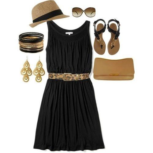 pretty.  black tank dress, leopard belt, gold dangle earrings, black flat sandals