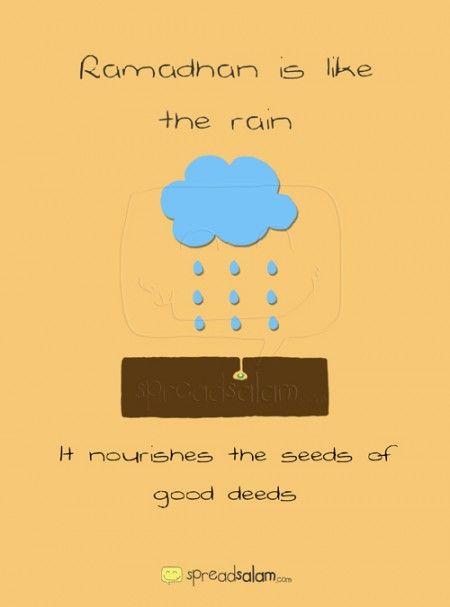 Ramadhan is like the rain… It nourishes the seeds of good deeds…  i.spreadsalam.com/1m #Ramadhan #Ramadan