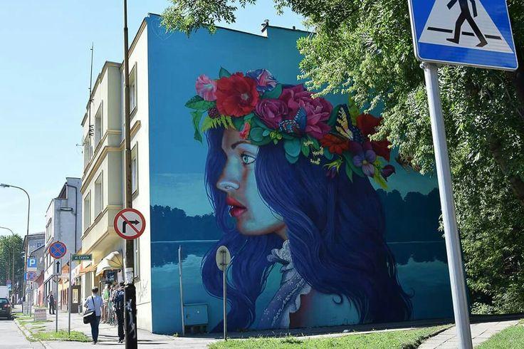 """Mural """"Midsummer Night"""", artist: Natalia Rak, ul. Cieszynska, Bielsko-Biala, Poland"""