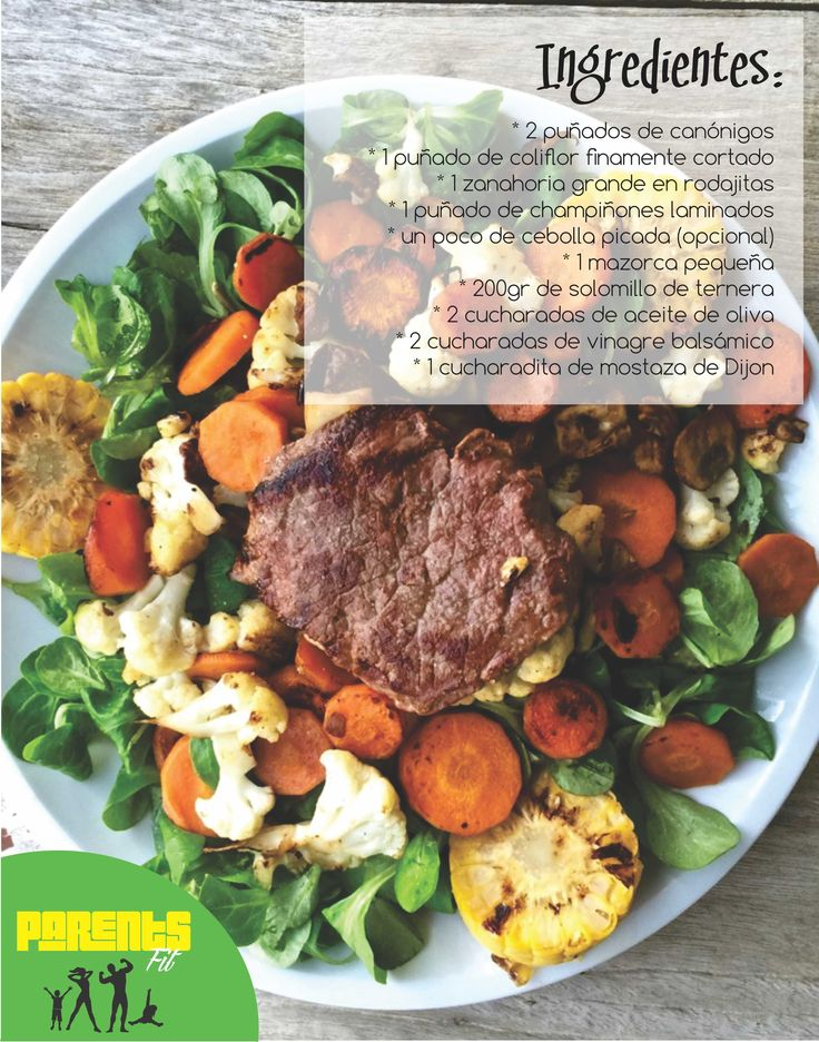 En una sartén, saltear la zanahoria, el coliflor, la cebolla, los champiñones y las rodajas de mazorca, salpimentarlos hasta que se dore. Al mismo tiempo, dore el solomillo de ternera en otra sartén. Mezcle los ingredientes para la ensalada: canónigos, verduras salteadas y solomillo. Prepare el aderezo, en un vasito mezcle el vinagre, la sal, la mostaza y el aceite.