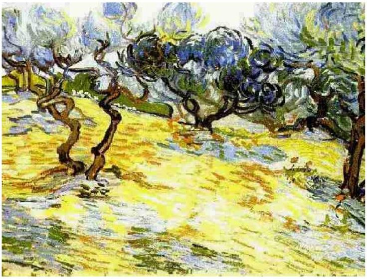 Olive Trees: Bright Blue Sky Vincent van Gogh   Painting, Oil on Canvas  Saint-Rémy: November, 1889 National Gallery of Scotland  Edinburgh, United Kingdom, Europe  F: ;714, ;JH: ;1858