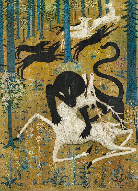 Robert Winthrop Chanler aka Robert W. Chanler / Leopard And Deer, 1912