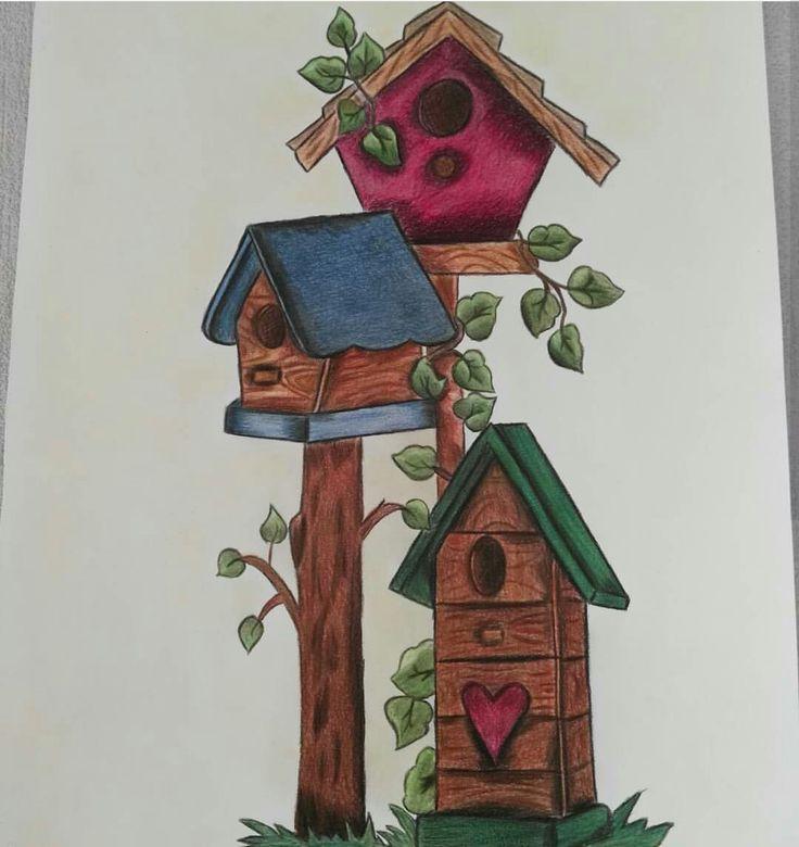 25x40 kuş evi kuruboya resim çalışmam