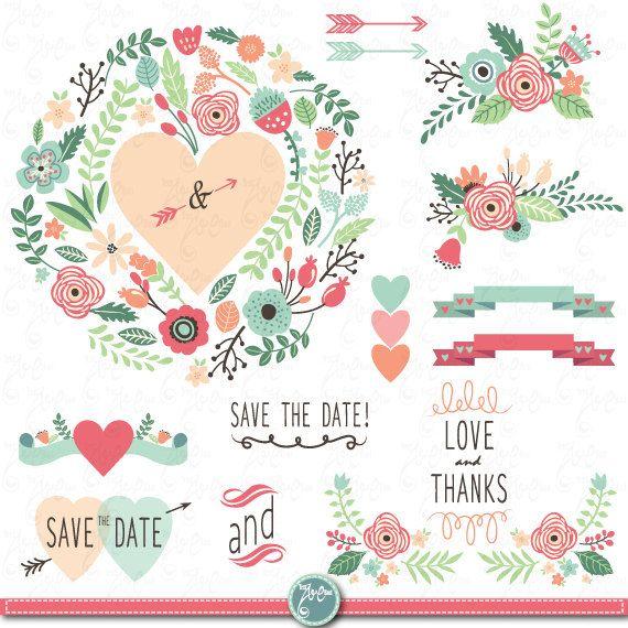 Wedding Clipart pack WEDDING FLORA clip art pack by YenzArtHaut, $5.00
