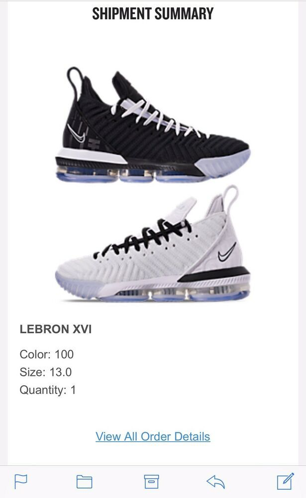 Nike LeBron 16 Equality Size 13 BQ5969 100 (Right Shoe