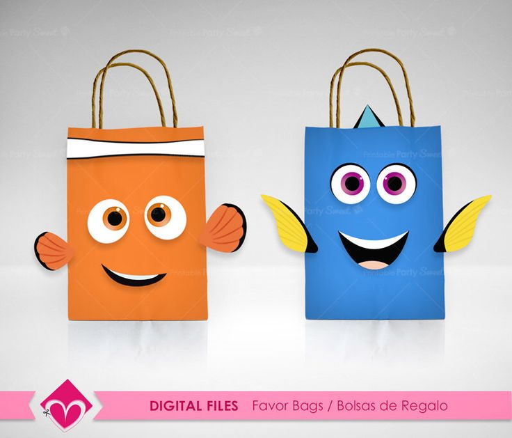 Finding Dory Favor Bags Party Digital Files, Finding Nemo DIY Printable Gift Bag Dory, Birthday Party Favor Dory,  Party printables  by PrintablePartySweet on Etsy https://www.etsy.com/listing/478414374/finding-dory-favor-bags-party-digital
