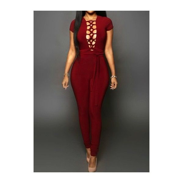 Rotita Lace Up Open Back Skinny Jumpsuit ($22) ❤ liked on Polyvore featuring jumpsuits, wine red, open back jumpsuit, red jumpsuit, print jumpsuit, skinny jumpsuit and patterned jumpsuit