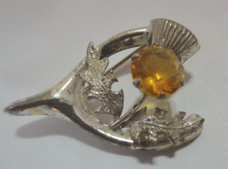 Sterling Silver Wishbone Thistle & Citrine Vintage Celtic Brooch WBS Silver Pin
