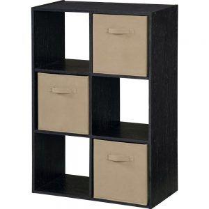 Storage Cube With Bins Black Ebony Ash