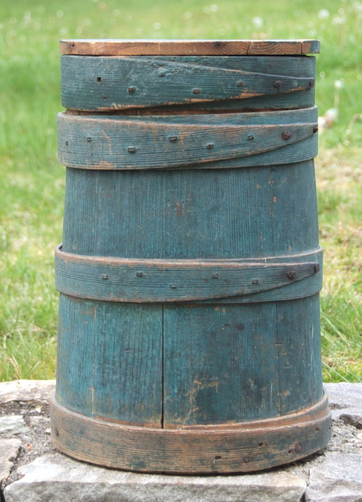Firkin Original Blue Paint TALL Firkin w/Lid Rare Tall Blue Firkin Primitive #Primitive