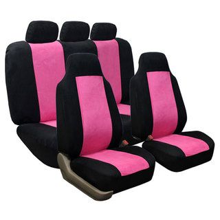 @Overstock.com.com - Suede Pink Airbag Compatible Split Rear Car/ SUV Seat Covers  - Keep the interior of your sports utility vehicle clean and stylish with these SUV seat covers. The pink-and-black modern pattern makes these covers stand out, and you can place them on heated or power seats. These suede covers are also easy to clean.  http://www.overstock.com/Home-Garden/Suede-Pink-Airbag-Compatible-Split-Rear-Car-SUV-Seat-Covers/7665520/product.html?CID=214117 $48.99