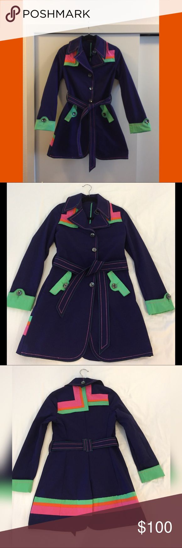Custo Barcelona Trench Amazing Custo Barcelona trench coat. Purchased at a sample sale. Fits a 2/4. Asymmetric color blocked details. Purple, pink, orange, lime. Shiny silver tone buttons. Cuffs look great folded or down...perfect if you have longer arms. Amazing condition! One of a kind! Custo Barcelona Jackets & Coats Trench Coats
